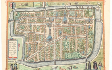 Braun & Hogenberg, Map of Delphum - Delft, Year 1581