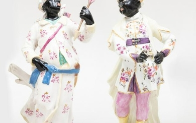 Chelsea Porcelain Figure of an Abyssinian Archer and a