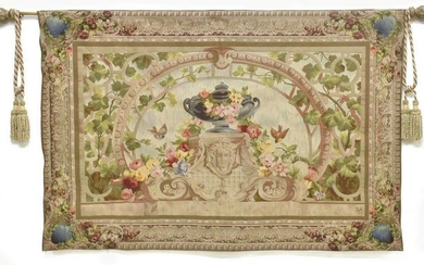 """FRENCH STYLE FLORAL WALL TAPESTRY, 56"""" x 84"""""""