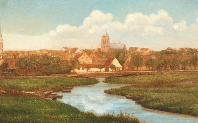 Andreas Fritz: Landscape with view to Aarhus from the west. Unsigned. Oil on canvas laid on cardboard. 18×25 cm.