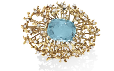 AN AQUAMARINE AND DIAMOND PENDANT/BROOCH,...