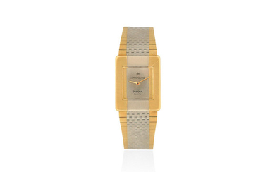 Bulova for Le Marquand. An 18K two colour gold quartz bracelet watch