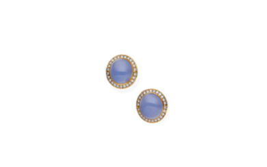 A pair of chalcedony and diamond earrings,
