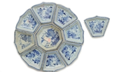 Chinese Blue & White Sectional Platter, 18th Century