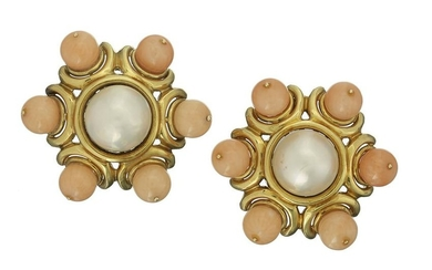 Coral and Mabe Pearl Ear Clips