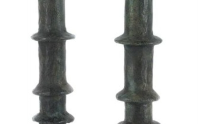 Diego Giacometti (manner of), a pair of bronze table lamps