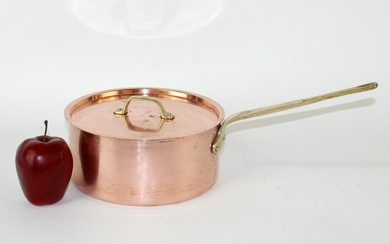 French copper lidded pot with brass handle