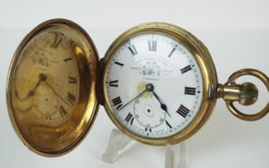 Lot Art | Gold plated Elgin pocket watch. Russel of