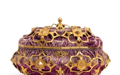 A Gothic style velvet covered table casket