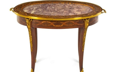 A Louis XVI Style Gilt Metal Mounted Marquetry Low