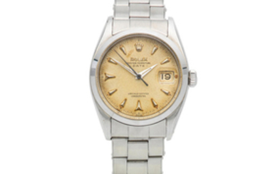Rolex. A stainless steel automatic calendar bracelet watch with roulette date wheel