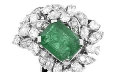Vintage Emerald, Diamond and Platinum Ring