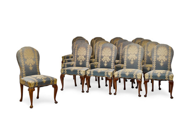 A set of Eighteen George I Style Upholstered Walnut Dining Chairs