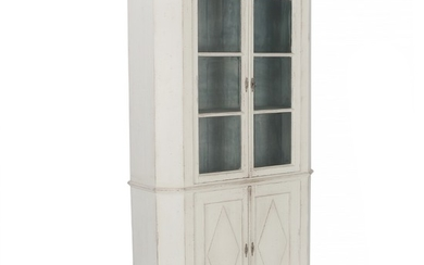 A painted Swedish glass front bookcase or display cabinet. Empire style, 19th century. H. 208 cm. W. 110 cm. D. 38 cm.