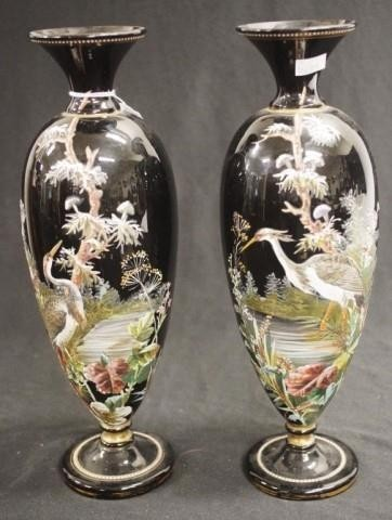 Pair antique hand painted Bristol glass vases each with a ha...