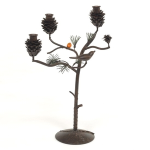 Patinated and Cold Painted Metal Three-Light Pine Tree Candelabrum