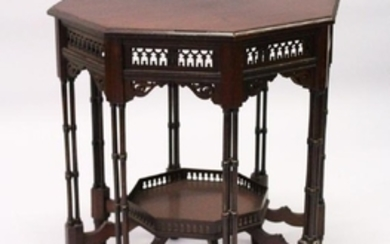 AN EDWARDIAN MAHOGANY OCTAGONAL SHAPED CENTRE TABLE,