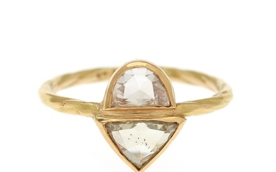 Natascha Trolle: A diamond ring set with two rose-cut diamonds totalling app. 1.04 ct., mounted in 18k gold. Size 54.