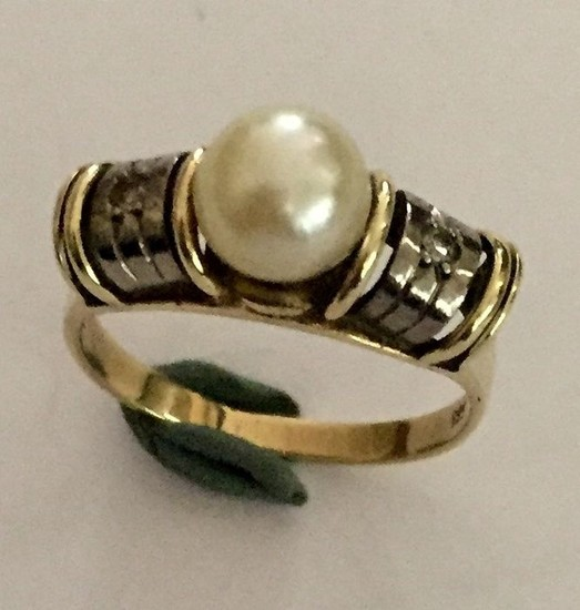 14 kt. White gold, Yellow gold - Ring Akoya cult pearl - Diamonds