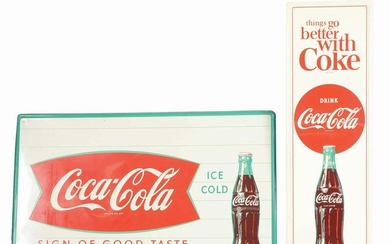 LOT OF 2: COCA-COLA SELF-FRAMED TIN ADVERTISING SIGNS.
