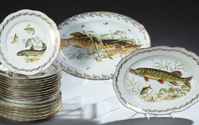 Two French Porcelain Fish Sets, 20th c., of seven