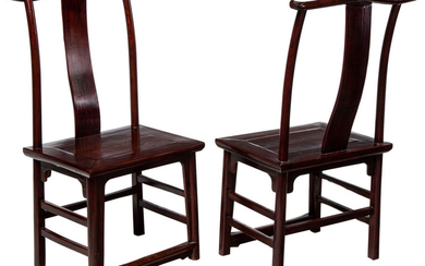 A Pair of Chinese Elmwood Side Chairs, 19th...