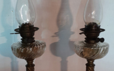 PR. OF FRENCH METAL BASE OIL LAMPS WITH CRYSTAL FOUNTS