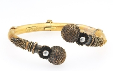 Victorian Etruscan Revival Gold and Diamond Bangle