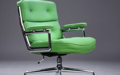 Charles Eames. Vintage office chair, Time-Life Lobby Chair, green wool