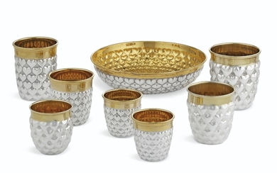 A GROUP OF GERMAN AND ITALIAN PARCEL-GILT SILVER TABLE ARTICLES, RETAILED BY CHRISTIAN DIOR, LATE 20TH CENTURY