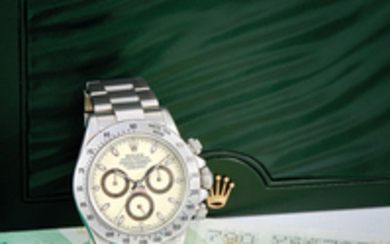 Rolex. A Very Rare Stainless Steel Chronograph Bracelet Watch with 'Cream/Panna' Dial