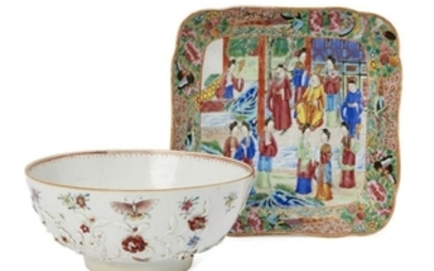 A Chinese export porcelain bowl and a...