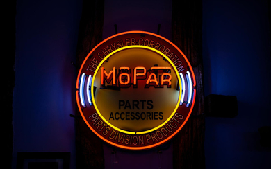 A Chrysler Corporation MoPar parts and accessories neon sign