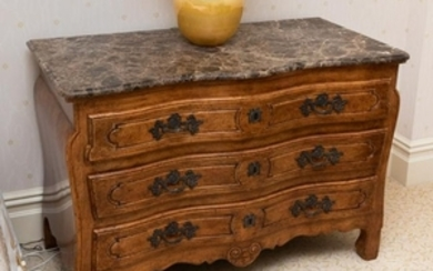 Country French Marble Top Three Drawer Chest