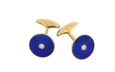 A pair of diamond and enamel cufflinks, by Fabergé