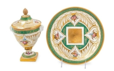 A French Porcelain Covered Cup and Saucer MID