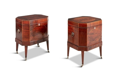 A PAIR OF GEORGE III MAHOGANY CELLARETTES, of octa…