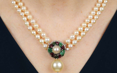 A mid 20th century cultured pearl two-row necklace, with carved ruby and emerald, single-cut diamond and cultured pearl clasp.