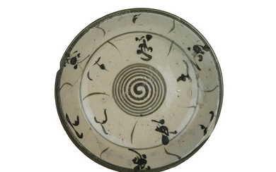 Plate Wide cup plate, rims support. Maiolica decorated in manganese...