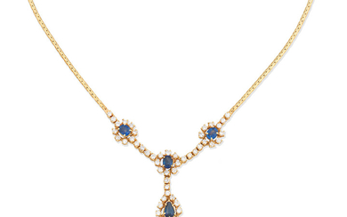 A sapphire and diamond cluster necklace,