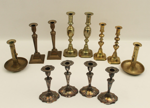 MISC. LOT OF 12 BRASS AND SILVER CANDLESTICKS