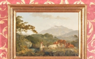 Attributed to Julius Caesar Ibbetson (British 1759-1817) Cattle and figures by a stream in an extensive mountainous landscape