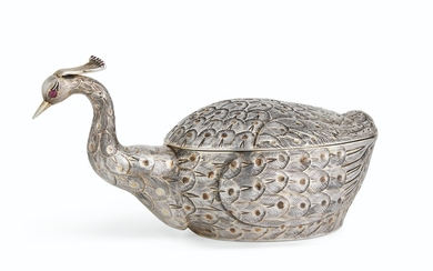 A MEXICAN PARCEL-GILT SILVER PHEASANT TUREEN AND COVER, TANE, MEXICO CITY, MID-20TH CENTURY