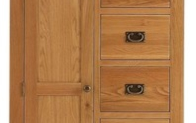A new childs wardrobe with five drawers to one side and shel...