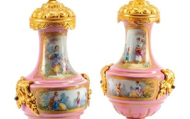 A Pair of Sèvres Style Gilt Bronze Mounted Porcelain