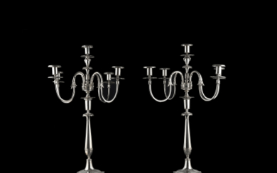 A pair of silver five-light candelabras. Tuscany, first half...