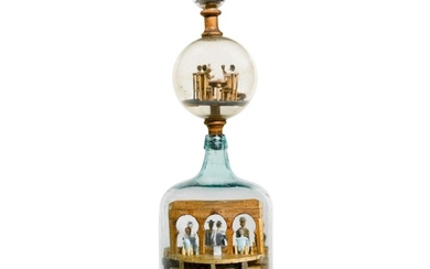 VERY RARE GLASS AND WOOD WHIMSY OF THE VICES OF MAN, POSSIBLY MADE BY REMIE LAFLEUR, CIRCA 1915