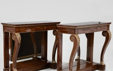 Fine Pair of Regency Mahogany and Parcel-Gilt Console