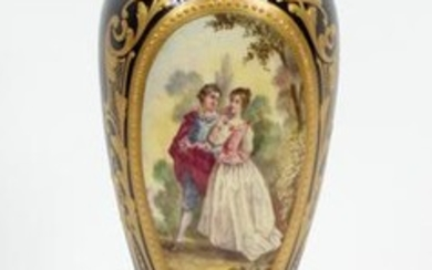 FRENCH SEVRES HAND PAINTED PORCELAIN & BRONZE VASE