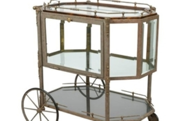 Brass & Beveled Glass Tea Cart